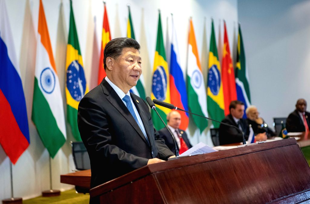 BRASILIA, Nov. 14, 2019 - Chinese President Xi Jinping speaks during the BRICS leaders' dialogue with the BRICS Business Council and the New Development Bank in Brasilia, Brazil, Nov. 14, 2019. The ... - Narendra Modi