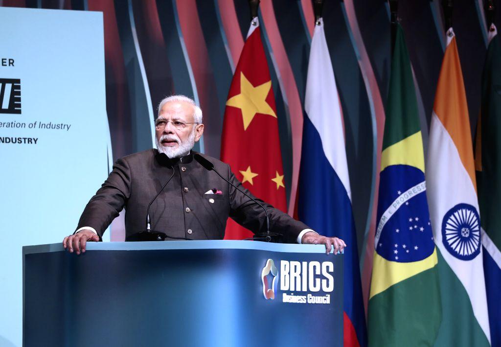 BRASILIA, Nov. 14, 2019 - Indian Prime Minister Narendra Modi speaks at the closing ceremony of the BRICS business forum in Brasilia, Brazil, Nov. 13, 2019. - Narendra Modi