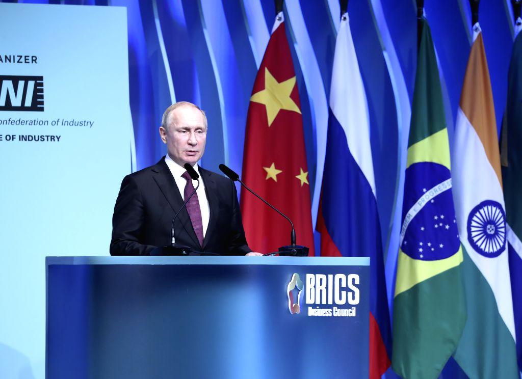BRASILIA, Nov. 14, 2019 - Russian President Vladimir Putin speaks at the closing ceremony of the BRICS business forum in Brasilia, Brazil, Nov. 13, 2019.