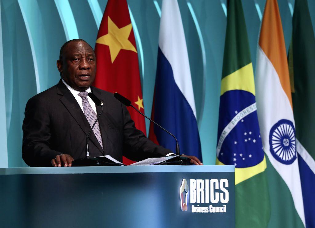 BRASILIA, Nov. 14, 2019 - South African President Cyril Ramaphosa speaks at the closing ceremony of the BRICS business forum in Brasilia, Brazil, Nov. 13, 2019.
