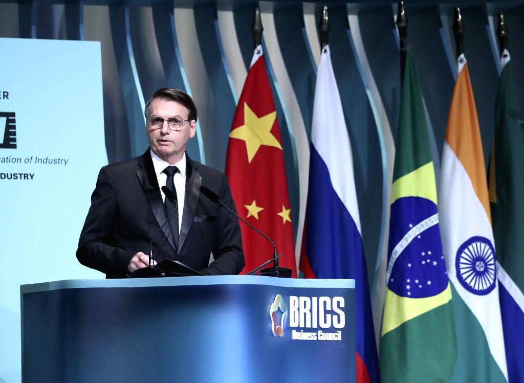 BRASILIA, Nov. 14, 2019 (Xinhua) -- Brazilian President Jair Bolsonaro speaks at the closing ceremony of the BRICS business forum in Brasilia, Brazil, Nov. 13, 2019. (Xinhua/Lan Hongguang/IANS)