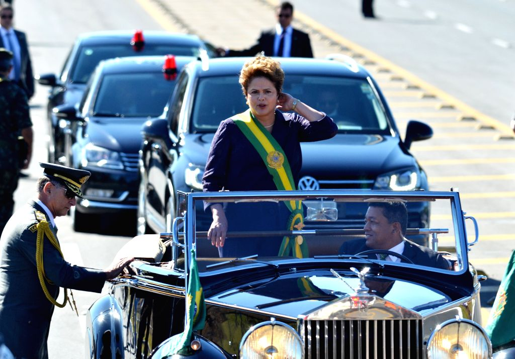Brazilian President Dilma Rousseff (C), takes part in a military parade to commemorate the Independence's Day of Brazil, in Brasilia, Brazil, on Sept. 7, 2014. ...