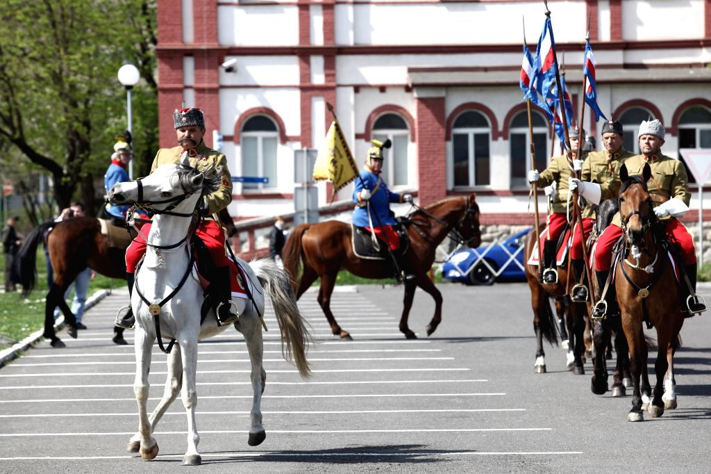 People take part in a historical parade as a part of centenary events for the WWI at Ministry of Defense of the Slovak Republic in Bratislava, Slovakia, on ...