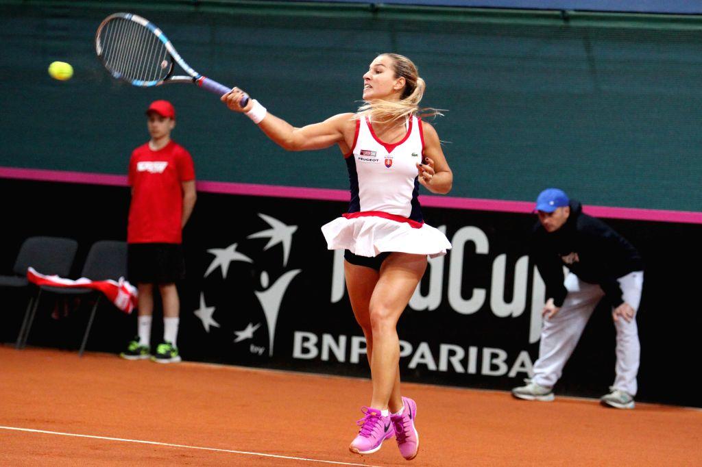 BRATISLAVA, April 17, 2016 - Dominika Cibulkova of Slovakia competes during the match against Francoise Abanda of Canada at the Fed Cup World Group II Play-offs in Bratislava, Slovakia, April 16, ...
