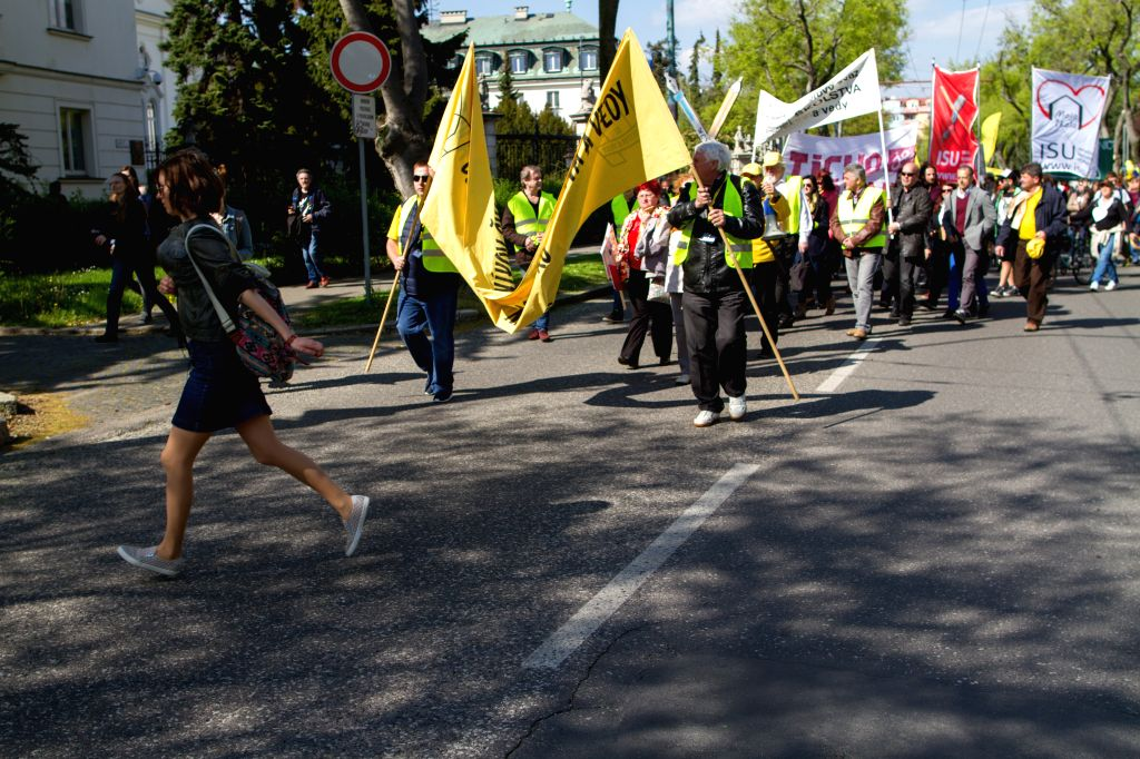 BRATISLAVA, April 19, 2016 - People protest in front of the government headquarters and the National Council, in Bratislava, Slovakia, April 19, 2016. More than 7,000 teachers and non-teacher ...