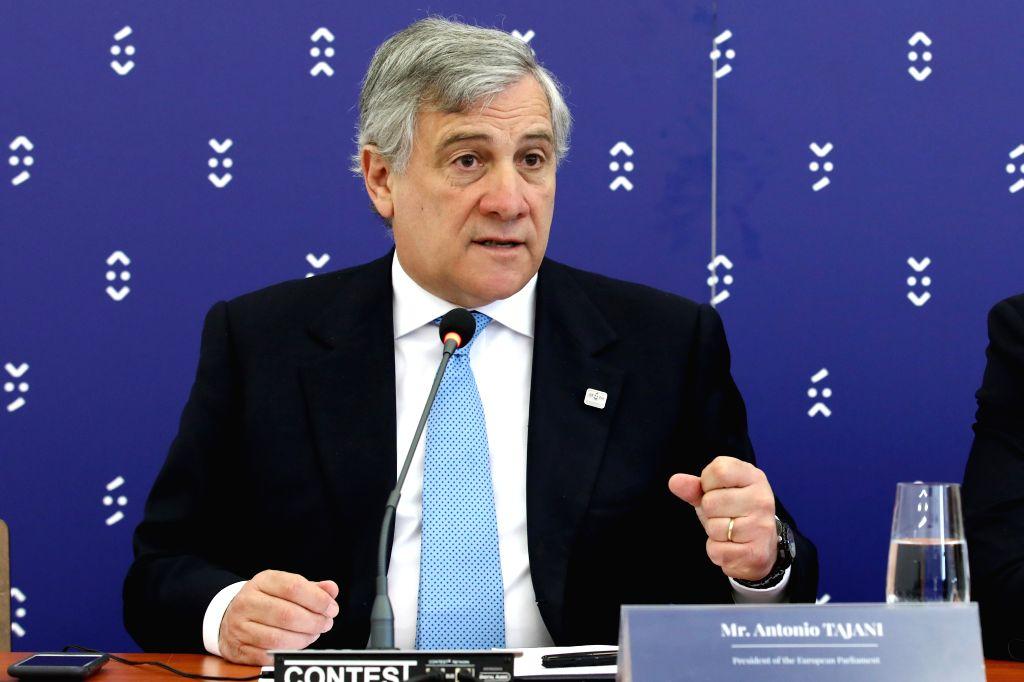 BRATISLAVA, April 24, 2017 - European Parliament President Antonio Tajani attends a press conference in Bratislava, Slovakia, on April 24, 2017. EU national parliaments will fight terrorism together, ...
