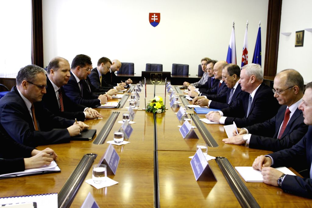 Delegates of Russia and Slovakia hold a talk in Bratislava, capital of Slovakia, April 4, 2015. The only alternative to achieve a peaceful resolution of the ... - Sergei Lavrov