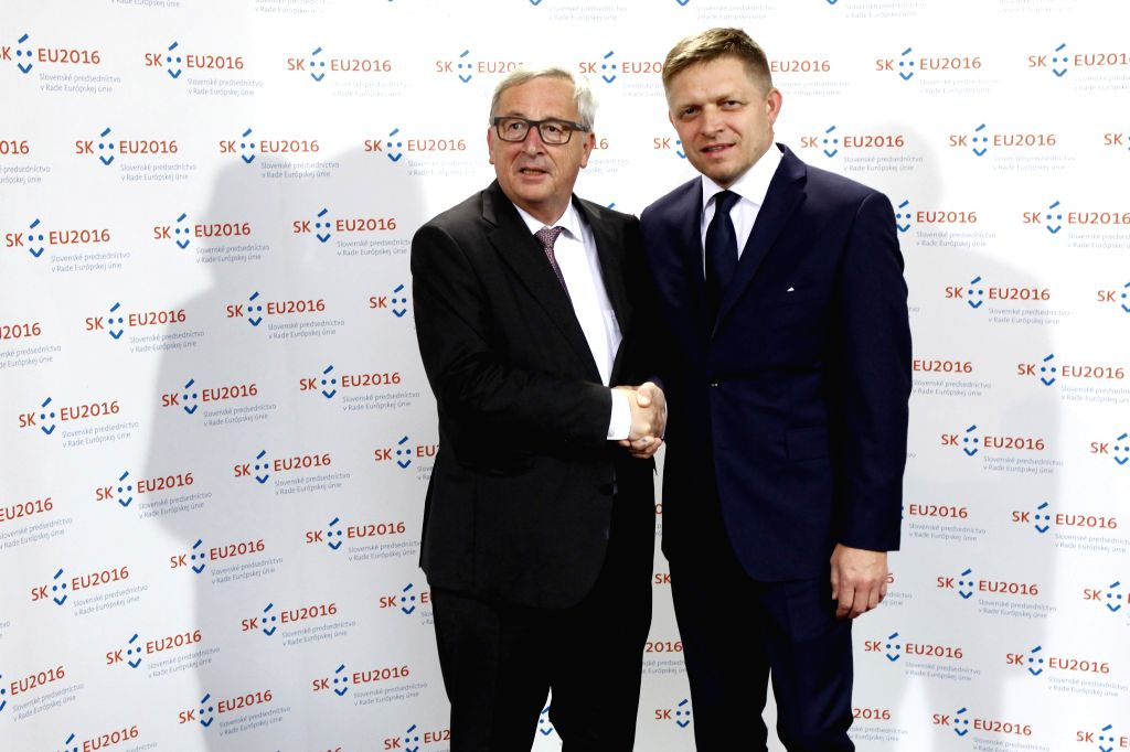 BRATISLAVA, June 30, 2016 - European Commission President Jean-Claude Juncker(L) meets with Slovak Prime Minister Robert Fico at the Bratislava Castle in Bratislava, capital of Slovakia on June 30, ... - Robert Fico