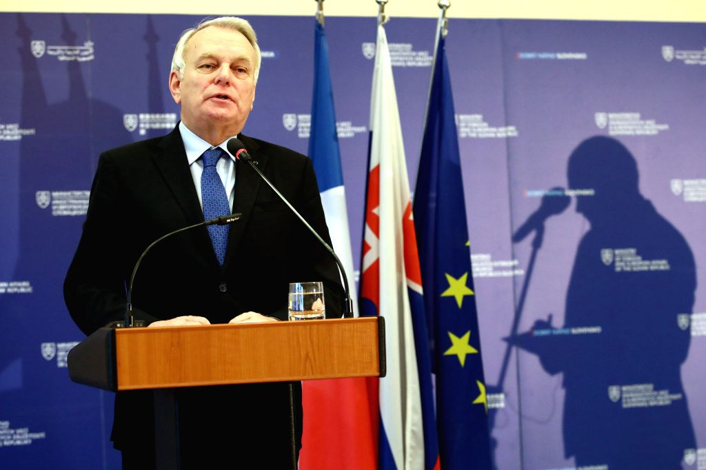 BRATISLAVA, March 10, 2017 - French Foreign Minister Jean-Marc Ayrault speaks during a press conference with Slovak Foreign and European Affairs Minister Miroslav Lajcak (not in the picture) in ... - Jean-Marc Ayrault