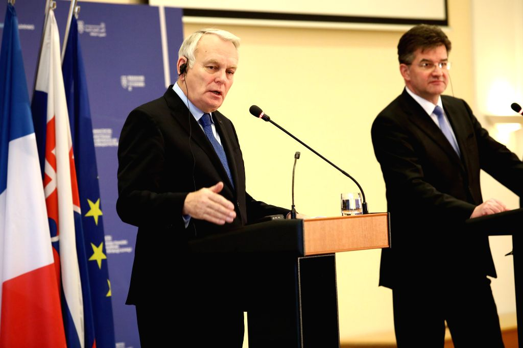 BRATISLAVA, March 10, 2017 - French Foreign Minister Jean-Marc Ayrault (L) speaks during a press conference with Slovak Foreign and European Affairs Minister Miroslav Lajcak in Bratislava, capital of ... - Jean-Marc Ayrault