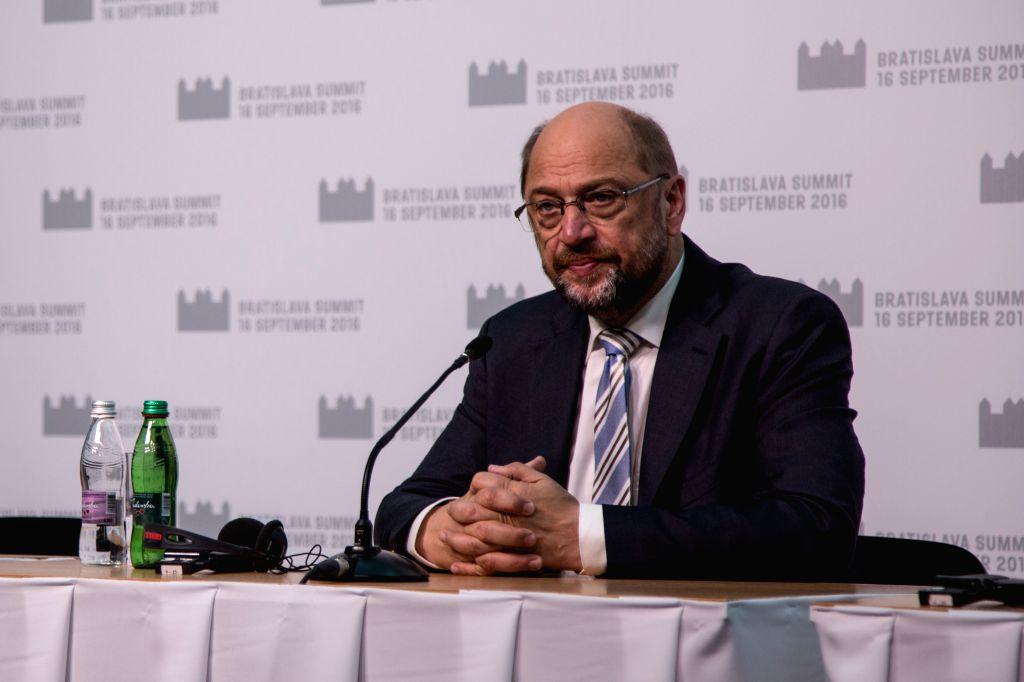 BRATISLAVA, Sept. 16, 2016 - European Parliament President Martin Schulz attends a press conference before an informal European Union (EU) summit in Bratislava, Slovakia, Sept. 16, 2016. Schulz on ...