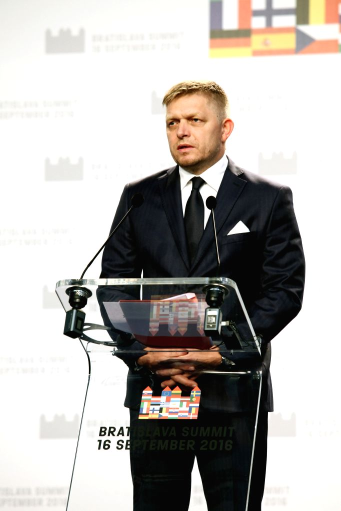 BRATISLAVA, Sept. 16, 2016 - Slovak Prime Minister Robert Fico attends a press conference with European Council President Donald Tusk and European Commission President Jean-Claude Juncker (not in the ... - Robert Fico
