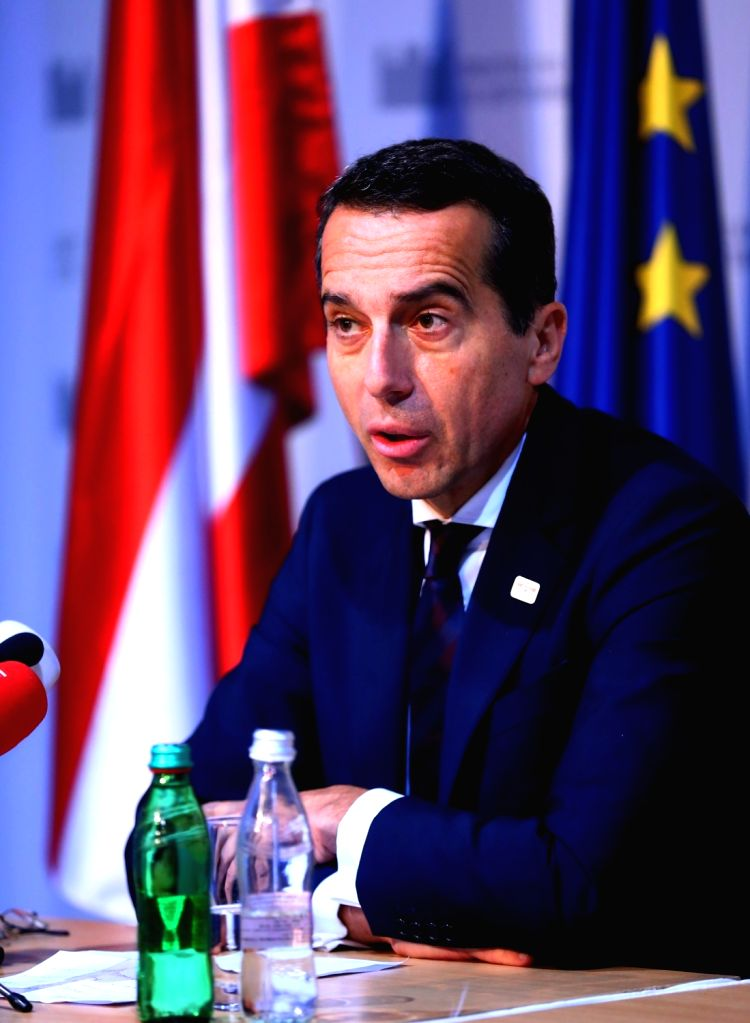 BRATISLAVA, Sept. 17, 2016 - Austrian Chancellor Christian Kern attends a press conference after an informal European Union (EU) summit in Bratislava, Slovakia, Sept. 16, 2016. EU members on Friday ... - Robert Fico