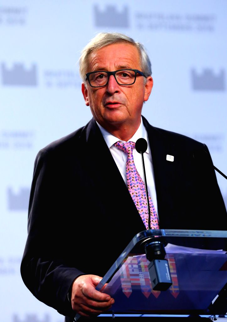 BRATISLAVA, Sept. 17, 2016 - European Commission President Jean-Claude Juncker speaks at a press conference after an informal European Union (EU) summit in Bratislava, Slovakia, Sept. 16, 2016. EU ... - Robert Fico