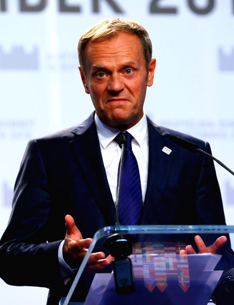 BRATISLAVA, Sept. 17, 2016 - European Council President Donald Tusk speaks at a press conference after an informal European Union (EU) summit in Bratislava, Slovakia, Sept. 16, 2016. EU members on ... - Robert Fico