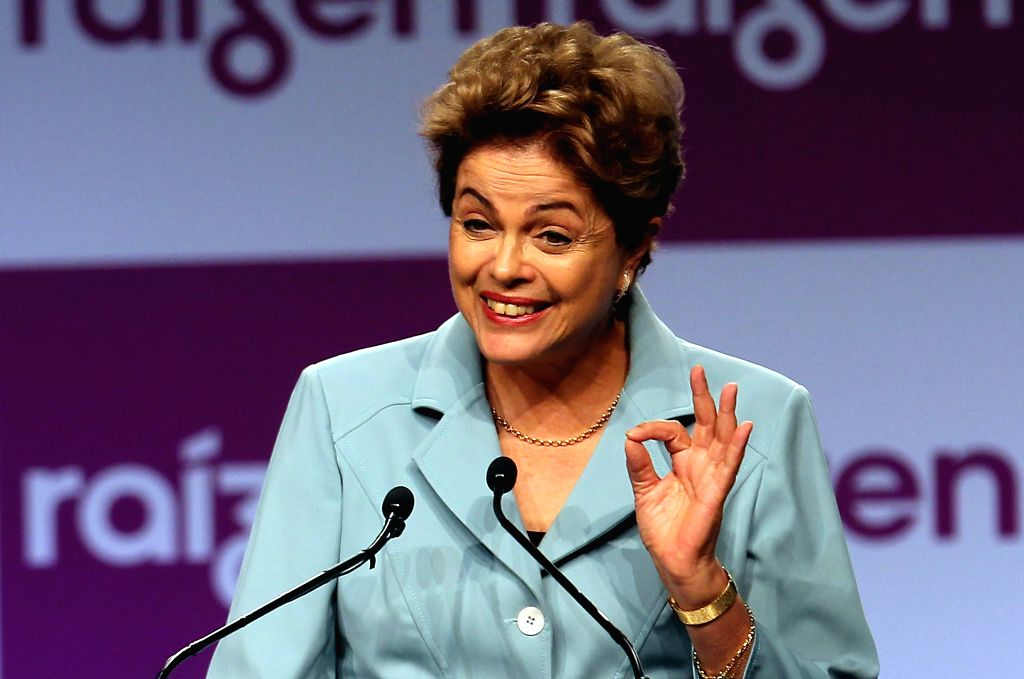 Brazil's President Dilma Rousseff delivers a speech during the inauguration ceremony of the first pilot ethanol production plant, in Piracicaba township, Sao ...