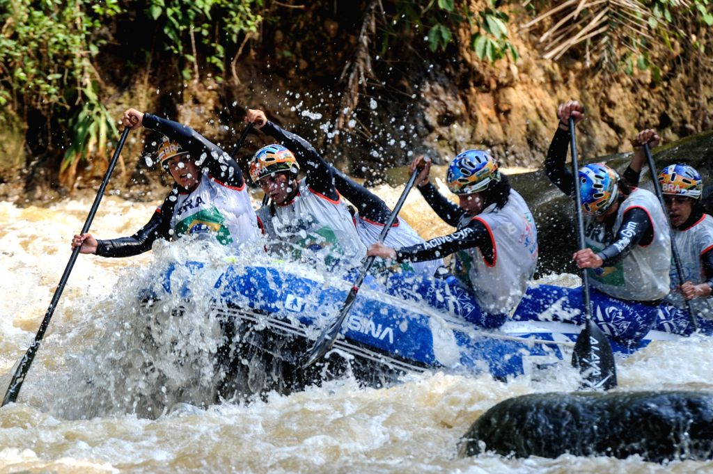 Brazil women team competes in youth women's Down River Race (DRR) during World Rafting Championship 2015 at Citarik river, Sukabumi, West Java, Indonesia on Dec. 3, ...