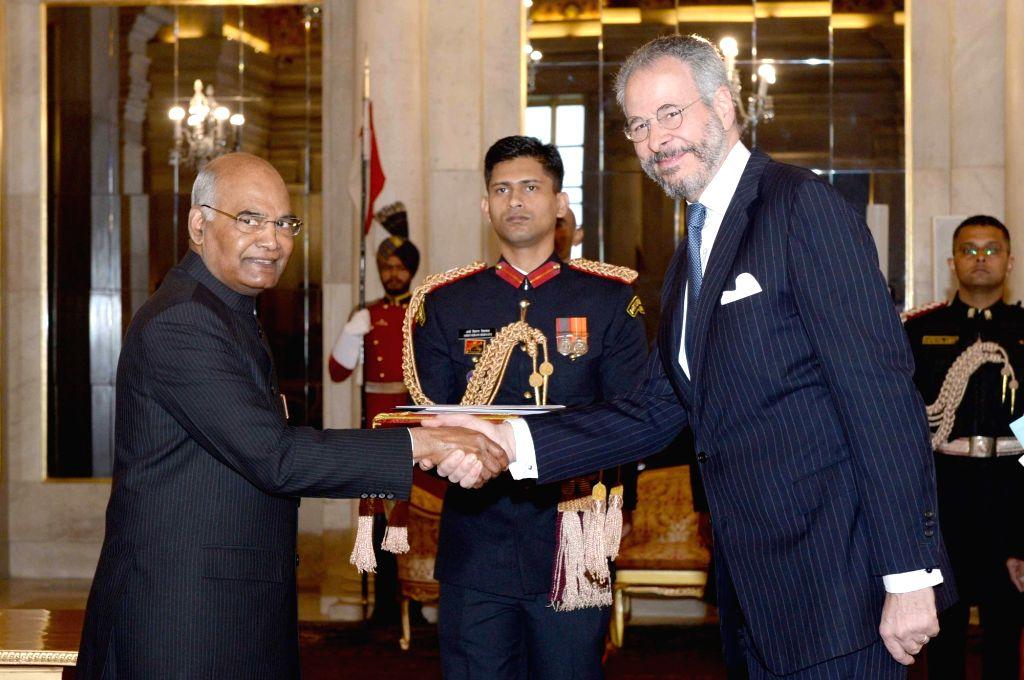 Brazilian Ambassador-designate Andre Aranha Correa do Lago after presenting his credentials to President Ram Nath Kovind at Rashtrapati Bhavan in New Delhi, on Dec 7, 2018. - Nath Kovind