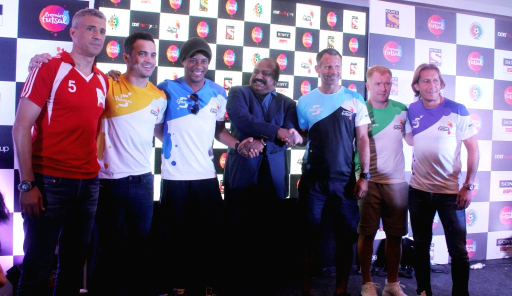 Brazilian football player Ronaldinho during a Futsal promotional programme in Chennai on July 14, 2016.