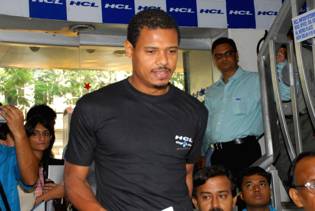 Brazlian player Jose Ramirez Barreto at  lunching pogram of HCL's powerful laptop in Kolkata on wednesday 29Apr 09.