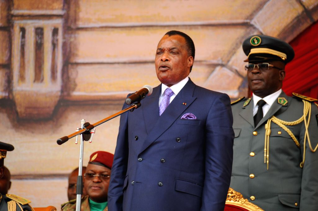 BRAZZAVILLE, Aug. 16, 2017 - President of the Republic of Congo Denis Sassou Nguesso addresses the celebration ceremony of the 57th anniversary of independence in Brazzaville, capital of the Republic ...