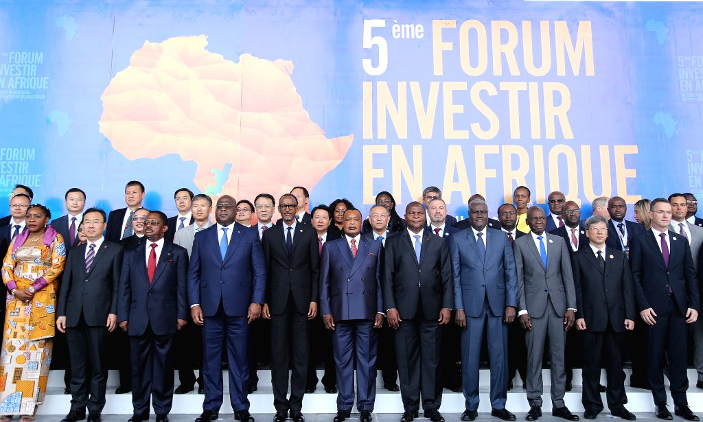 BRAZZAVILLE, Sept. 11, 2019 - Guests pose for a group photo at the Fifth Investing in Africa Forum in Brazzaville, capital of the Republic of Congo, on Sept. 10, 2019. The Fifth Investing in Africa ...