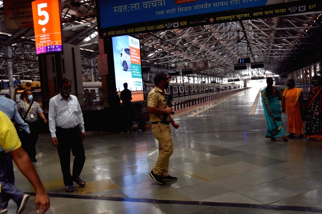 Break the Chain coronavirus control have State Government call on commuters support have stay safe home and working home for work they have seen railway platform empty at CSTM in Mumbai on ...