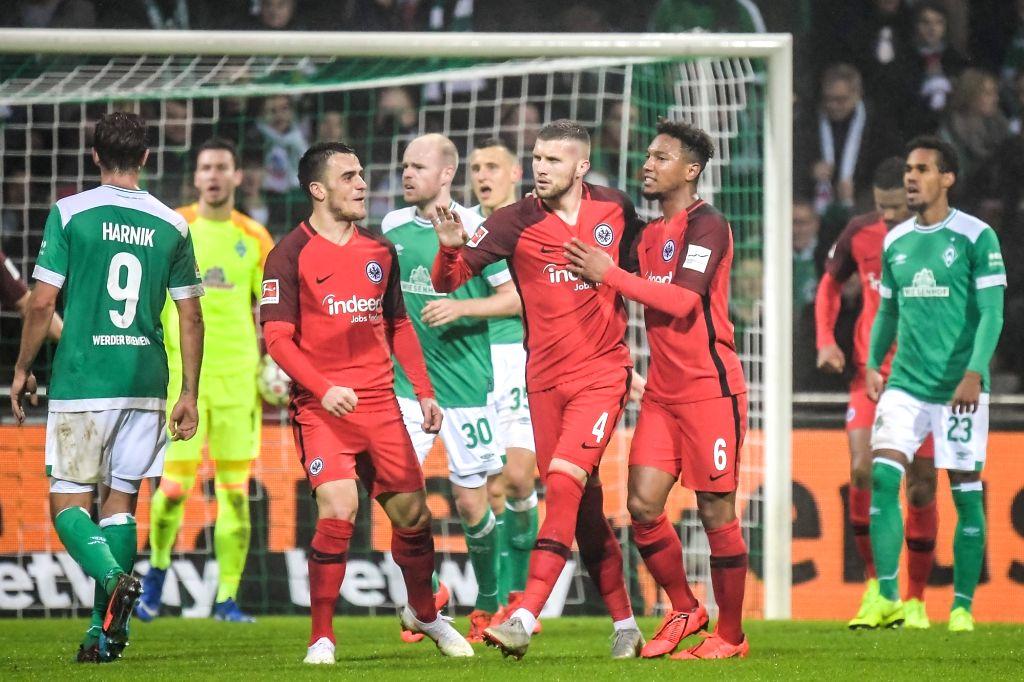 BREMEN, Jan. 27, 2019 - Frankfurt's Ante Rebic (4th R) celebrates his goal with teammates during a German Bundesliga match between SV Werder Bremen and Eintracht Frankfurt, in Bremen, Germany, on ...