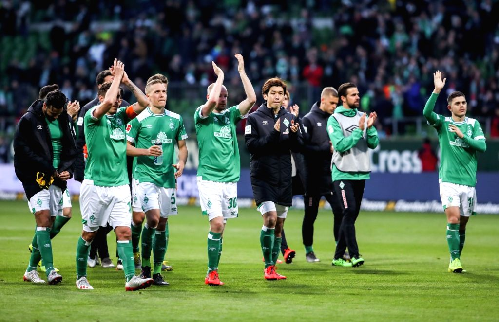 BREMEN, May 5, 2019 - Bremen's players greet the fans after a German Bundesliga match between SV Werder Bremen and Borussia Dortmund in Bremen, Germany, on May 4, 2019. The match ended 2-2.