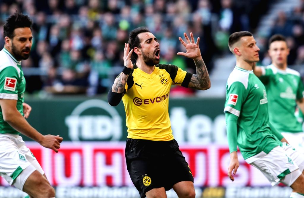 BREMEN, May 5, 2019 - Dortmund's Paco Alcacer (C) reacts during a German Bundesliga match between SV Werder Bremen and Borussia Dortmund in Bremen, Germany, on May 4, 2019. The match ended 2-2.