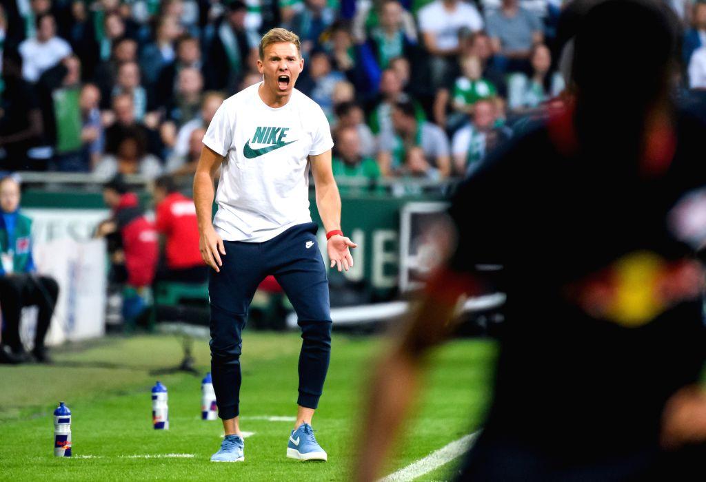 BREMEN, Sept. 22, 2019 - Julian Nagelsmann, head coach of Leipzig, reacts during the Bundesliga soccer match between SV Werder Bremen and RB Leipzig in Bremen, Germany, on Sept. 21, 2019.