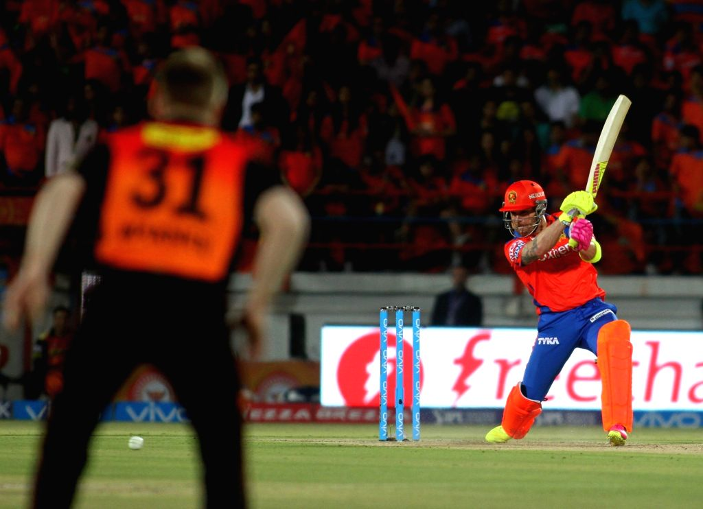 Brendon McCullum of Gujarat Lions in action during an IPL match between Gujarat Lions and Sunrisers Hyderabad at Saurashtra Cricket Association Stadium in Rajkot on April 21, 2016.