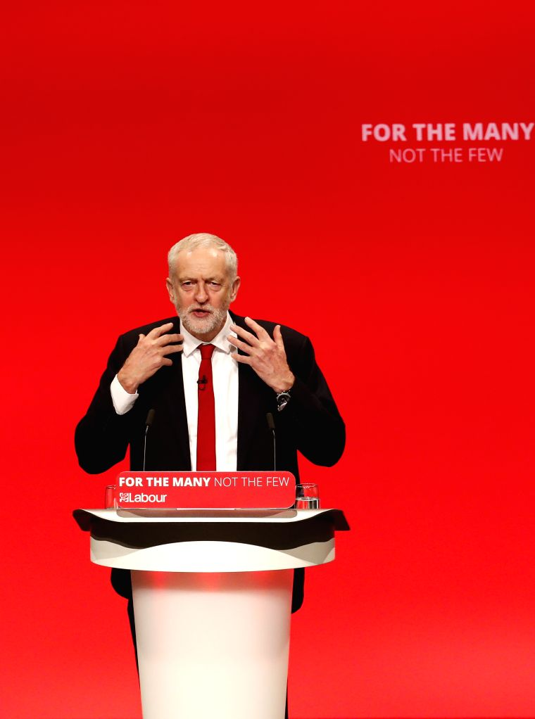 BRIGHTON, Sept. 27, 2017 - Labour Party leader Jeremy Corbyn speaks during the last day of the Labour Party's Annual Conference in Brighton, Britain on Sept. 27, 2017. The Labour Party's Annual ...