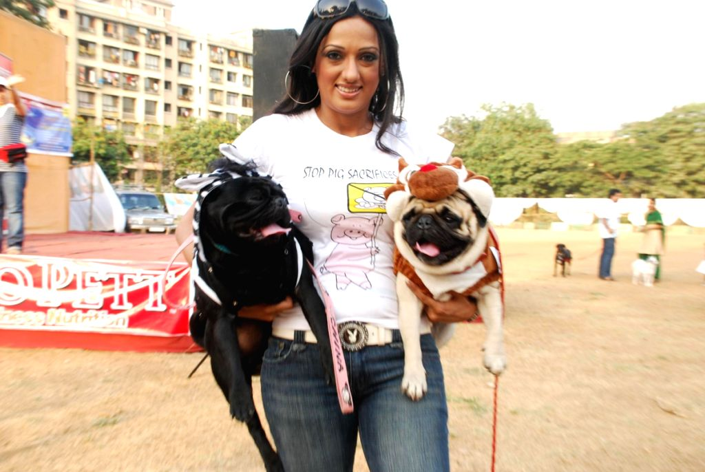 Brinda Parekh with her pets at dog show in Govandi.
