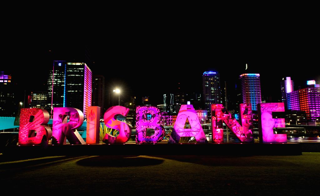 """A sign of """"Brisbane"""" is set near the Brisbane Convention and Exhibition Centre in Brisbane, Australia, Nov. 14, 2014. World economic leaders will travel to Brisbane for the G20 ..."""