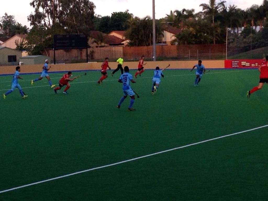 Players in action during the fourth match of the five-match test series of between India and Australia Junior Men's team in Brisbane, Australia on Dec 10, 2014. India won. Score: 4-2.