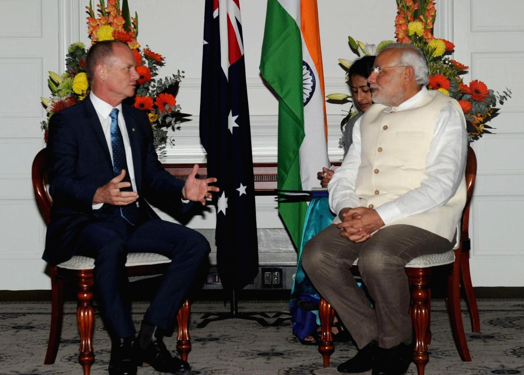 Prime Minister, Narendra Modi meets the Premier of Queensland, Campbell Newman, in Brisbane, Australia on Nov 16, 2014. - Narendra Modi