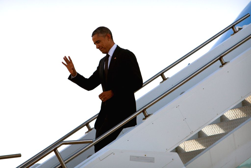U.S. President Barrack Obama arrives in Brisbane of Australia on Nov. 14, 2014 to attend the G20 summit.