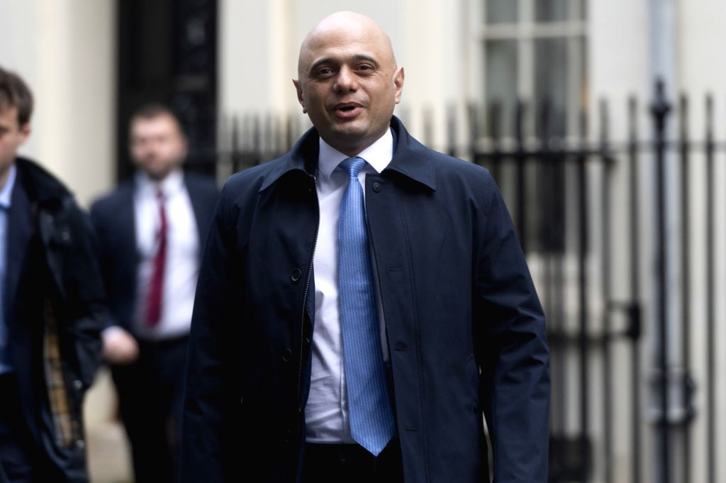 Britain's Chancellor of the Exchequer Sajid Javid leaves Downing Street to attend the Prime Minister's Questions in Parliament in London, Britain, Jan. 8, 2020.