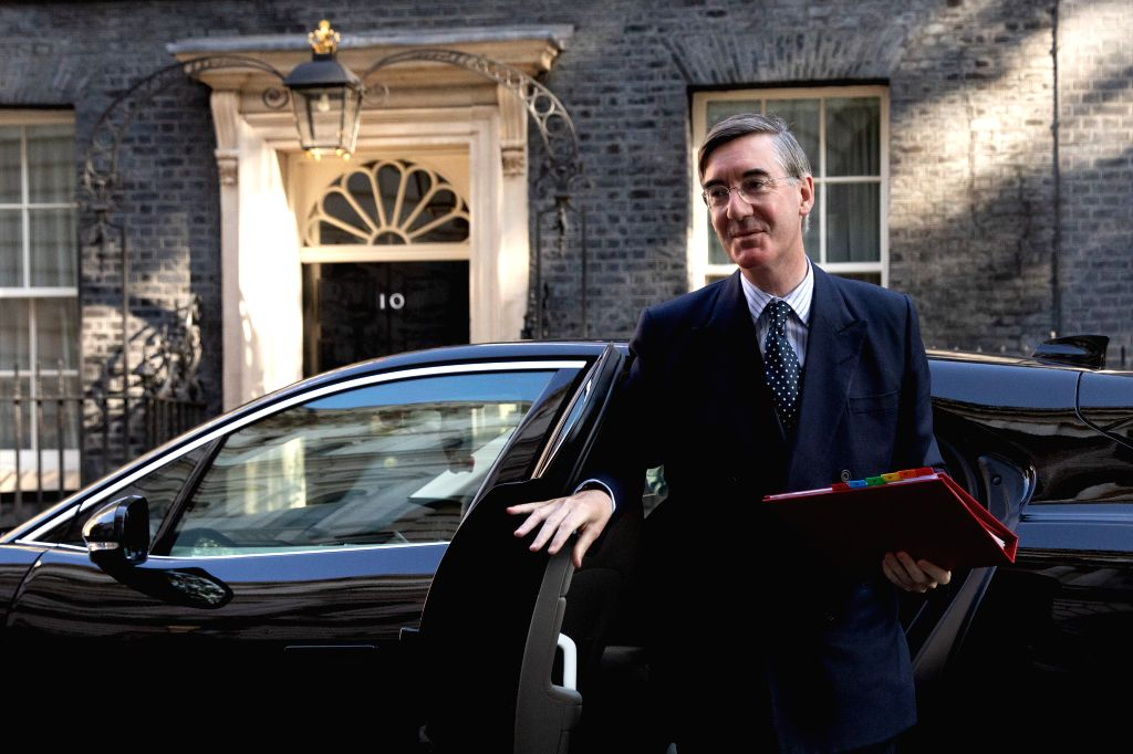 Britain's er of the House of Commons Jacob Rees-Mogg arrives for a cabinet meeting in London, Britain, on Sept. 1, 2020.