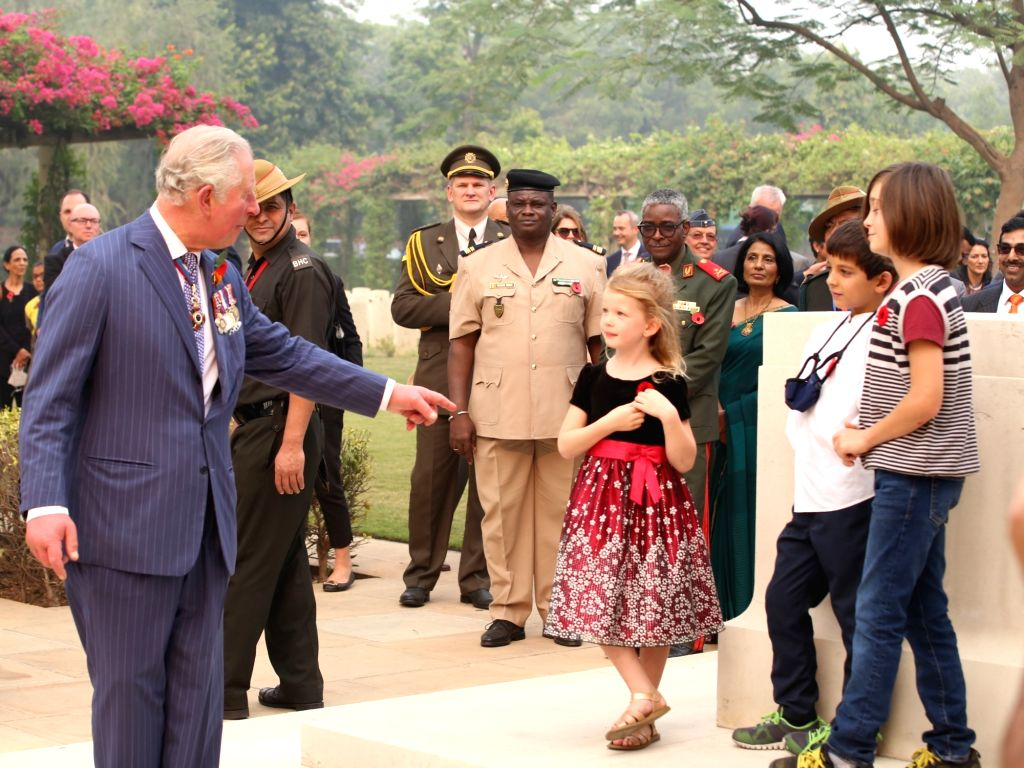 Britain's Prince Charles during his visit to the Delhi War Cemetery, on Nov 13, 2019.