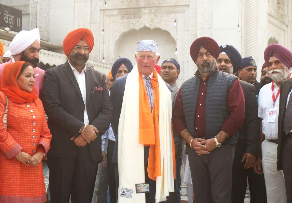 Britain's Prince Charles visits Sri Bangla Sahib Gurudwara during the 550th birth anniversary celebrations of Guru Nanak Dev, in New Delhi on Nov 13, 2019. - Nanak Dev