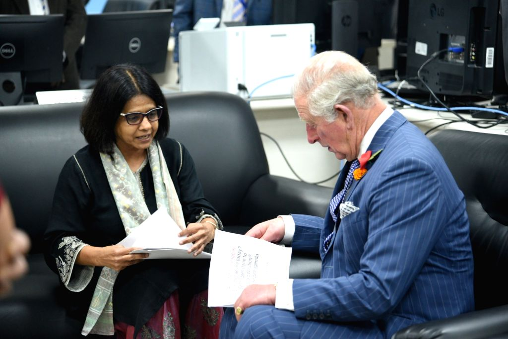 Britain's Prince Charles, who is on a two day visit to India, gets a tour of the Control Room of the regional specialised Meteorological Centre for Tropical Cyclone at India Meteorological ...