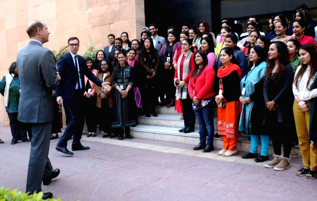 Britain's Prince Edward, the third and the youngest son of Queen Elizabeth II, during his visit to the British Council in New Delhi on Feb 7, 2018.