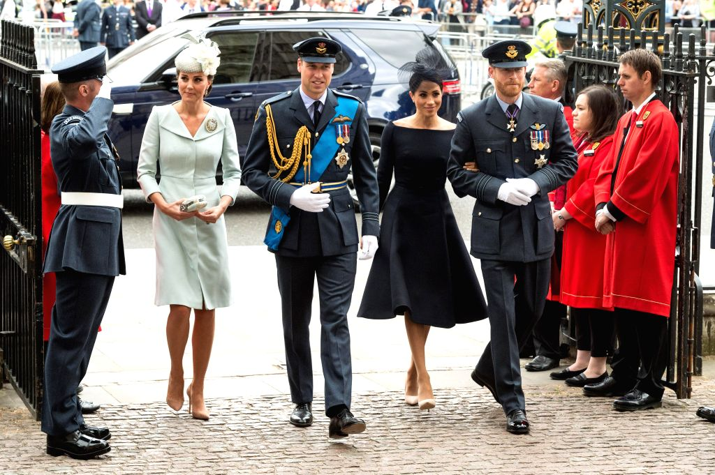 Britain's Prince William (3rd L), Duke of Cambridge, and his wife Catherine (2nd L), Duchess of Cambridge, Prince Harry (5th L), Duke of Sussex and his wife Meghan (4th L), Duchess of Sussex. (Xinhua/Ray Tang/IANS)