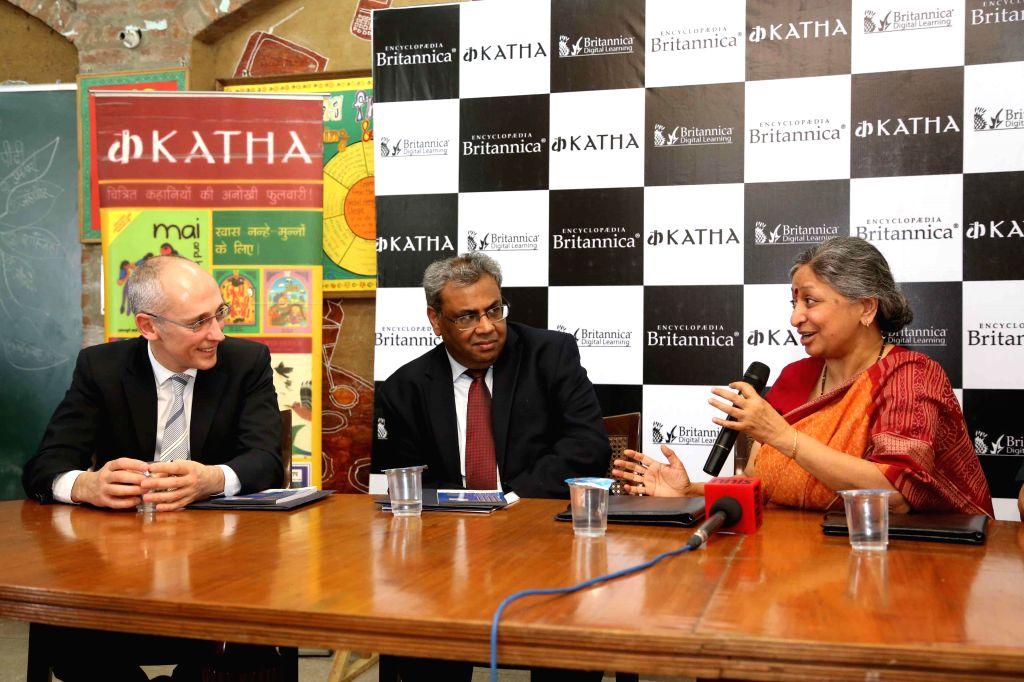 Britannica President Jorge Cauz, Sarvesh Shrivastava, and  Founder of Katha Geeta Dharmarajan during a press conference to announce their partnership in New Delhi on April 22, 2014.
