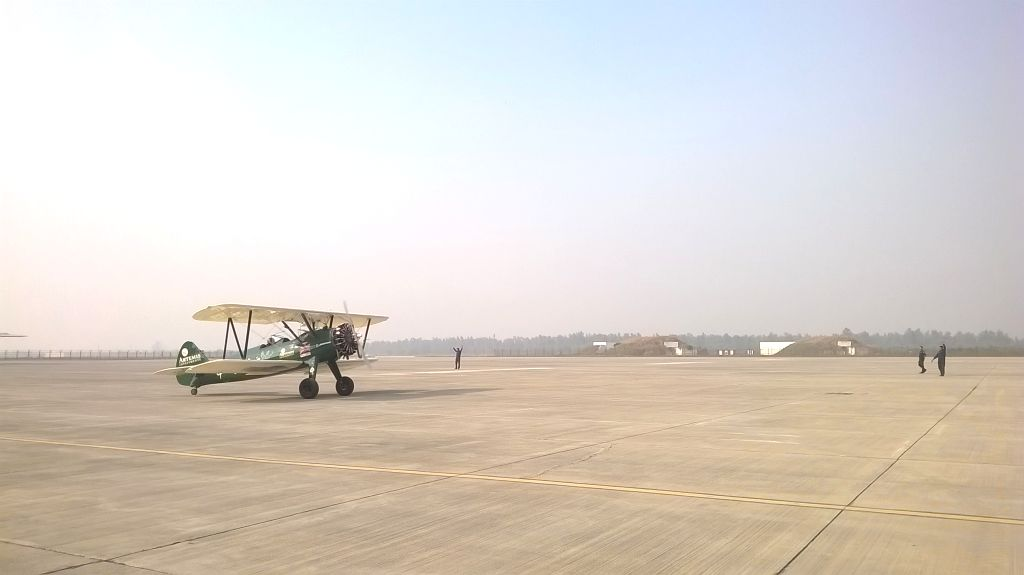 British aviator Tracey Curtis Taylor arrives at Hindon