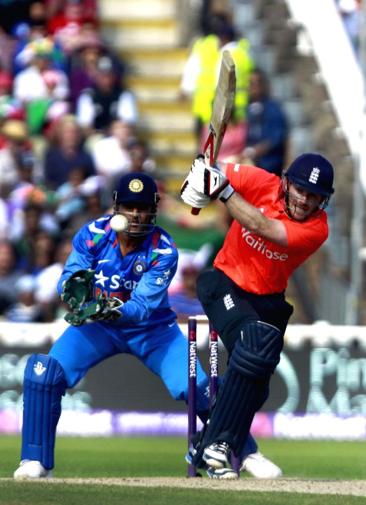 British batsman Eoin Morgan in action during a T20 match between India and England at Edgbaston, Birmingham, England on Sept 7, 2014. - Eoin Morgan