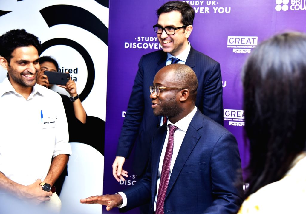 British Council India Director Alan Gemmell OBE and UK Minister of State Sam Gyimah during an interaction at a discussion on Future of Ed Tech in India; in New Delhi on July 26, 2018.