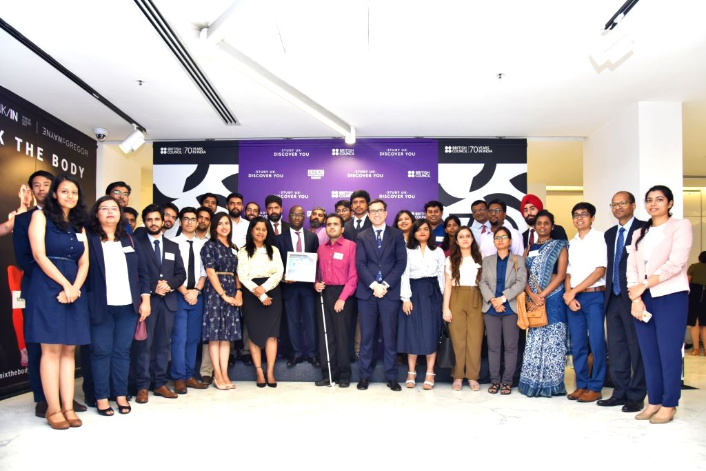British Council India Director Alan Gemmell OBE and UK Minister of State Sam Gyimah in a group photo at a discussion on Future of Ed Tech in India; in New Delhi on July 26, 2018.